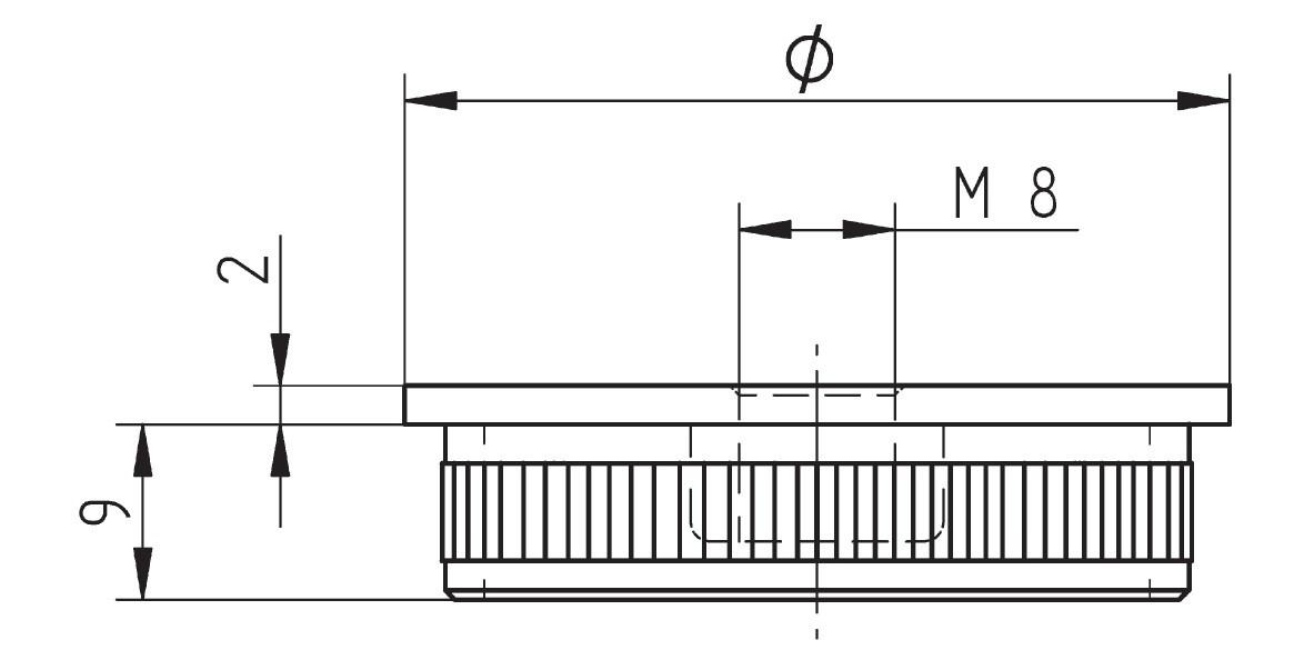Rändelkappe flach mit Gewindebohrung M8