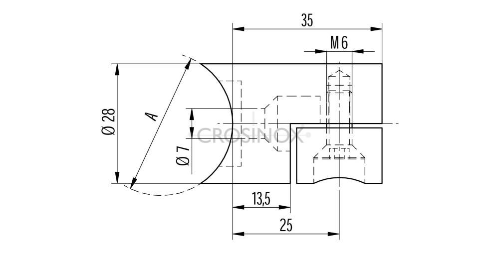 Lochblechhalter für Rundrohr 42,4 mm