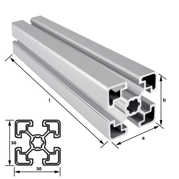 Alu-Konstruktionsprofil 30 x 30 mm Nut 8 mm EN AW 6063 T66 - eloxiert E6 EV1, (HL6)