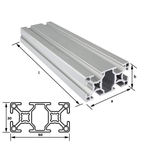 Alu-Konstruktionsprofil 60 x 30 mm Nut 8 mm leicht