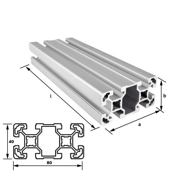 Alu-Konstruktionsprofil 80 x 40 mm Nut 10 mm leicht EN AW 6063 T66 - eloxiert E6 EV1, (HL6)