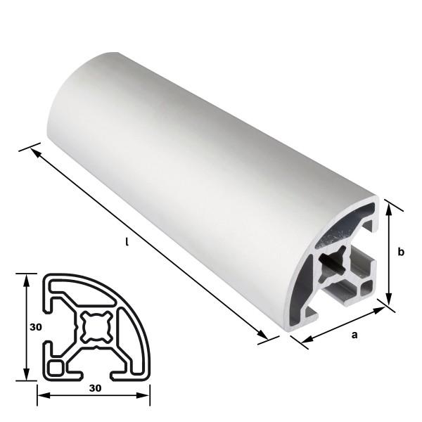 Alu-Konstruktionsprofil 30 x 30 mm Nut 8 mm Viertelkreis EN AW 6063 T66 - eloxiert E6 EV1, (HL6)