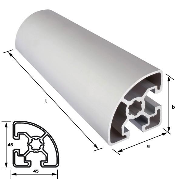 Aluminium Nutprofilrohr 45 x 45 mm Nut 10 mm Viertelkreis