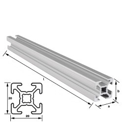 Alu-Konstruktionsprofil 20 x 20 mm Nut 6 mm