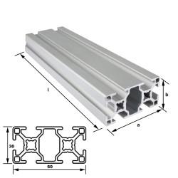 Alu-Konstruktionsprofil 60 x 30 mm Nut 8 mm leicht EN AW 6063 T66 - eloxiert E6 EV1, (HL6)