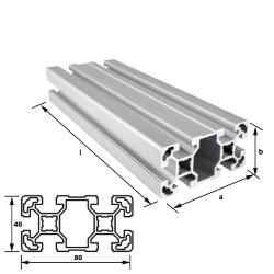 Alu-Konstruktionsprofil 80 x 40 mm Nut 10 mm leicht