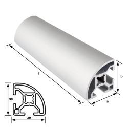 Alu-Konstruktionsprofil 30 x 30 mm Nut 8 mm Viertelkreis